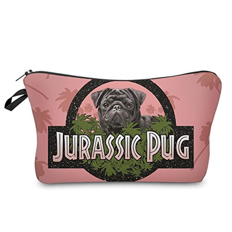 コロニー二層(560kick) ジュラシック パグ 犬 ピンク メイク ポーチ