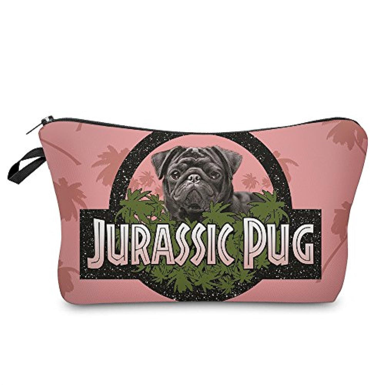 びんオールみ(560kick) ジュラシック パグ 犬 ピンク メイク ポーチ