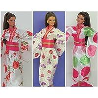 hellojoy Lot 3 pcsファッションハンドメイドJapanese Kimono forバービー人形Xmasギフト