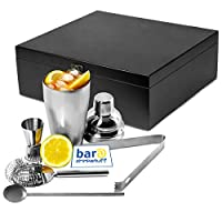 Manhattan Nights Cocktail Gift Set in Wooden Gift Box by bar@drinkstuff Cocktail Shaker, Cocktail Strainer, Jigger Measure, Drinks Stirrer, Ice Tongs
