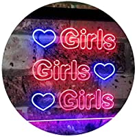 Girls Heart Bedroom Display Gift Dual Color LED看板 ネオンプレート サイン 標識 青色 + 赤色 300 x 210mm st6s32-i2223-br