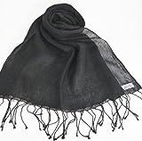 リネン100%のサラサラ麻 ストール  (ブラック)