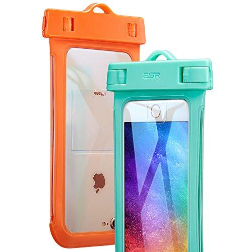 防水ケースESR 2枚セット、ESR IPX8(防水規格) 防水カバー 入れたままタッチ操作 指紋認証(iPhone 7以降の機種でロック解除可) 対応機種: iPhone XS/X/ 8/8 plus 7/7plus/6s/6/6plus, Samsung, Sony, Huaweiその他6インチまでのスマートフォン