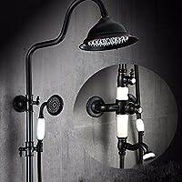 シャワーの噴頭玉陶磁器はヨーロッパ式黒シャワーセットの冷熱昇降式の花をまいた