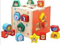 幼児期のゲーム かわいい動物の木の形のソーター幾何学的な並べ替えボックス子供のための教育形状の色の認識のおもちゃ