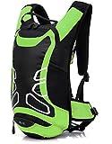 サイクリングバッグ 12L 多機能 ランニング アウトドア スポーツリュック バッグ 超軽量 防水 反射材付き ナイロン製 自転車バックパック リュック 男女兼用 6色選び グリーン