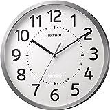 リズム時計 RHYTHM 電波 掛け時計 フィットウェーブM508 連続秒針 オフィス モデル 見やすい 大きな文字 シルバー 8MY508SR19