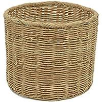 タイ製 ラタン ふち付き筒型バスケット Mサイズ 籠 バスケット 鉢カバー