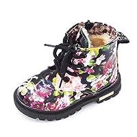 [MonShop] 男の子女の子ブーツエレガント花柄フラワープリントスニーカー子供靴ブーツ赤ちゃん幼児マーティンブーツレザー子供ブーツ (9.5, Black fur)