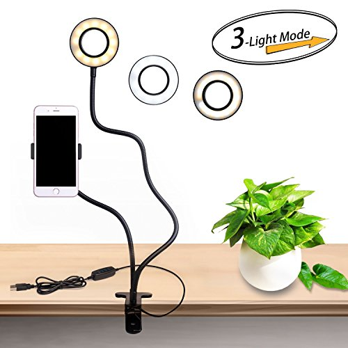 TECKEPIC デスクスタンドライト スマホスタンド スマホホルダー 自撮り棒 照明 クリップ式 USB 自撮り 録画 読書などに適用 360 °回転 調光可能(ブラック)