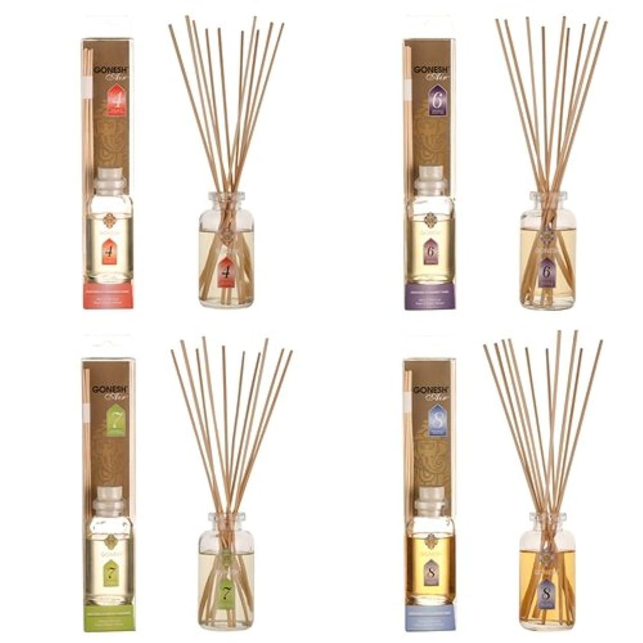 放送平日肯定的ガーネッシュ GONESH リードディフューザー 4つ(No.4、No.6、No.7、No.8)の香りが楽しめる4個セット 日本国内正規品