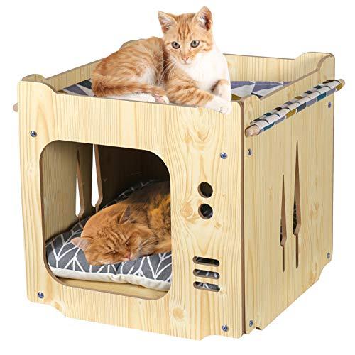 ペットベッド キャットハウス 多頭用 ボックスハウス クッションマット付き ハンモック 2階 寝床 猫用 ケージ ドーム型 箱型 組み立て 木製 通気 防潮 丈夫 猫ソファ 四季使える 家具調 ぐっすり眠れる 組み立て説明書付き (ナチュラル)