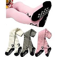 Toptim Baby Girl's Tights Toddler Non-skid Leggings 3 Pack