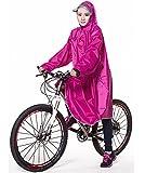 QIAN レインコート 自転車 バイク ロング ポンチョ 男女兼用 メンズ レディース 通勤通学 フリーサイズ 完全防水 高品質 (バラ色)