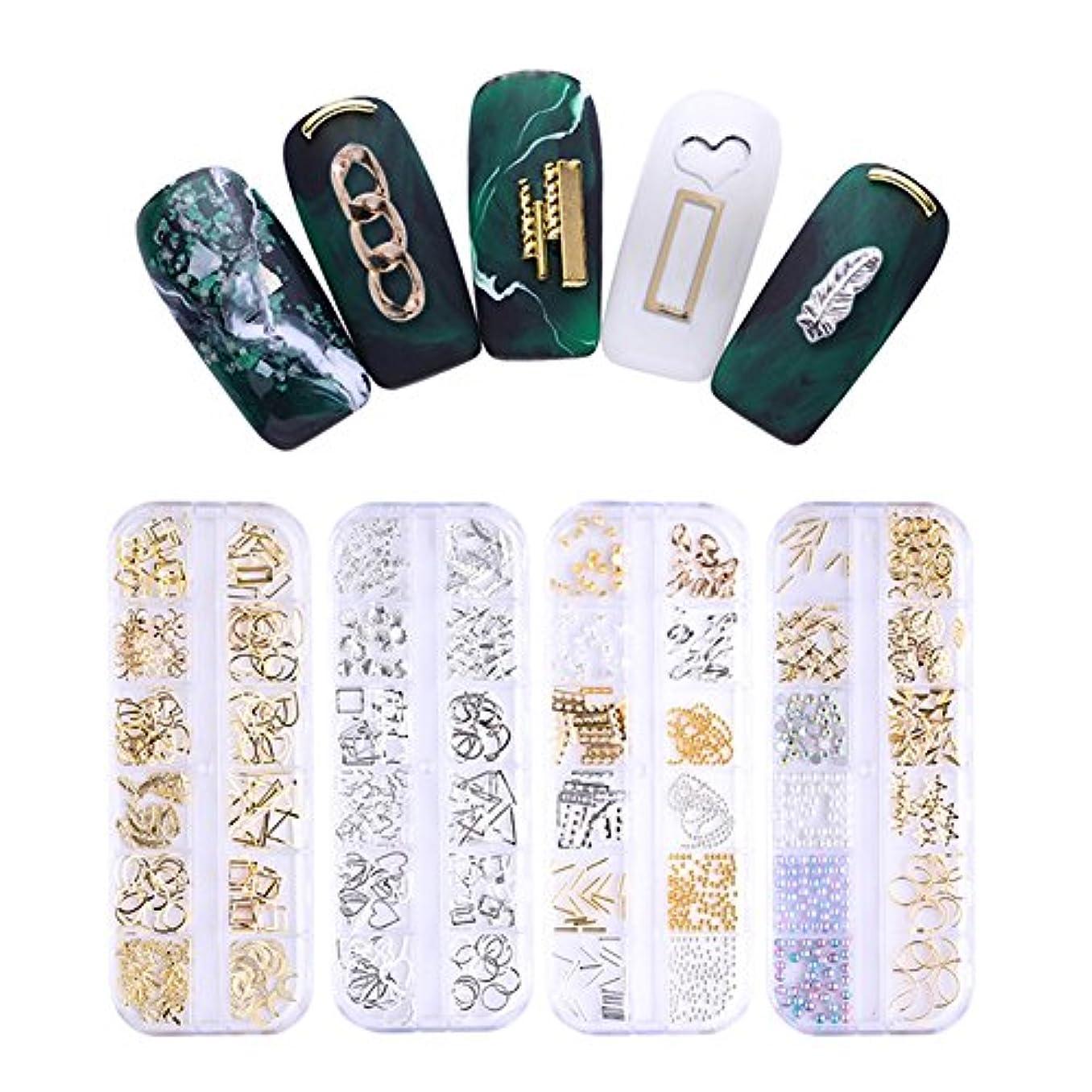 消える護衛そこNICOLE DIARY ネイルパーツ メタルパーツ ゴールド レジンデコ デコパーツ 12類*4個セット ネイルアート セルフネール デコレーション用 [並行輸入品]