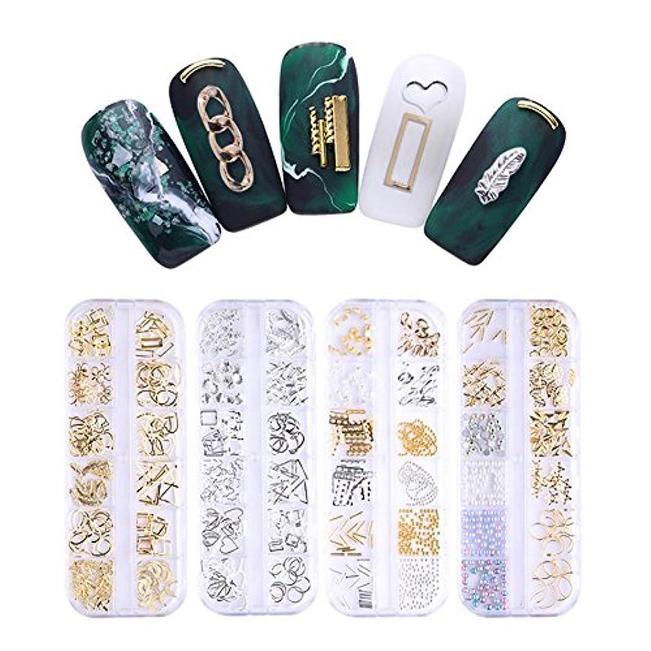 小康アクロバット耕すNICOLE DIARY ネイルパーツ メタルパーツ ゴールド レジンデコ デコパーツ 12類*4個セット ネイルアート セルフネール デコレーション用 [並行輸入品]