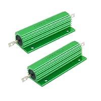 uxcell アルミニウム ワイヤウーンドケース抵抗器  100W 0.5オーム5% 2個入り グリーン