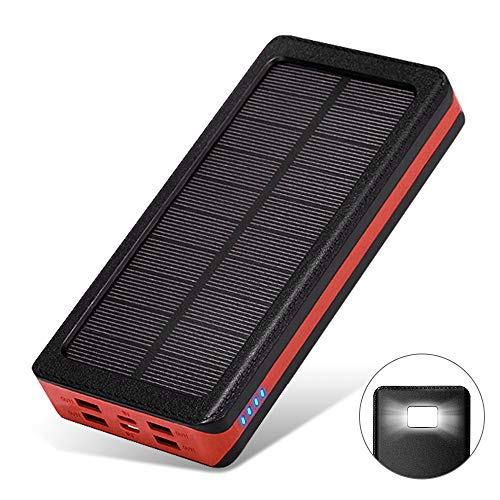 モバイルバッテリー ソーラーチャージャー 大容量 24000mAh LEDライト付き 4USB出力ポート 4台同時充電でき IPX6防水 携帯充電器 太陽光で充電可能 持ち運び便利 地震/災害/旅行/出張/アウトドア活動などの必携品 iPhone/iPad/Android各種対応