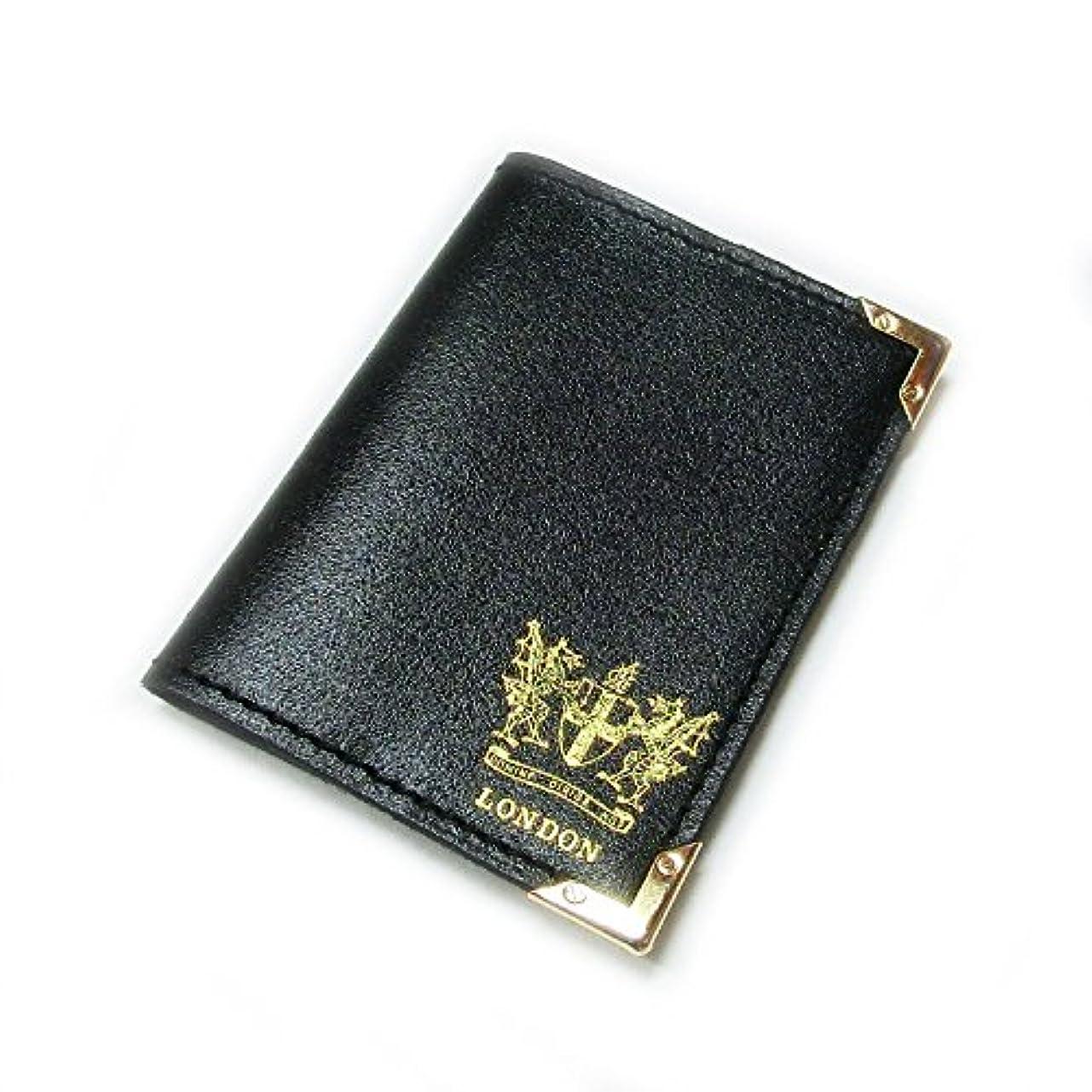 アブストラクト吸収剤のスコア革製カードケース ロンドン市の紋章入り【ブラック】