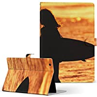 SO-05G SONY ソニー Xperia Tablet エクスペリアタブレット タブレット 手帳型 タブレットケース タブレットカバー カバー レザー ケース 手帳タイプ フリップ ダイアリー 二つ折り スポーツ サーフィン 夕日 so05g-001166-tb