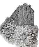 (タリンダ)Talindaふわふわラビットファー リボン タッチパネル対応 スマホ手袋 レディース 冬 可愛い 厚手 女性防寒手袋 運転運動にも (2グレー)