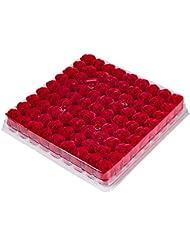 SODIAL 81個の薔薇、バス ボディ フラワー?フローラルの石けん 香りのよいローズフラワー エッセンシャルオイル フローラルのお客様への石鹸 ウェディング、パーティー、バレンタインデーの贈り物、赤色