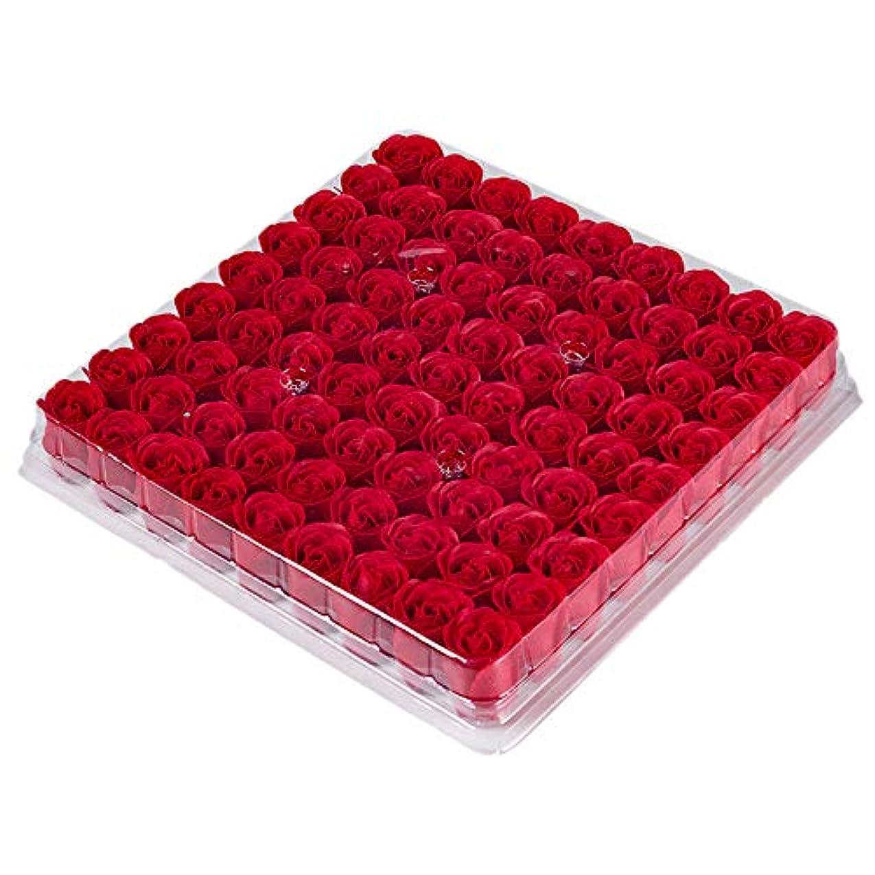 シュガー雪の容量RETYLY 81個の薔薇、バス ボディ フラワー?フローラルの石けん 香りのよいローズフラワー エッセンシャルオイル フローラルのお客様への石鹸 ウェディング、パーティー、バレンタインデーの贈り物、赤色