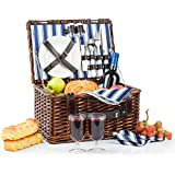 Picnic Basket for 2   Handmade Picnic Hamper Set   Ceramic Plates Complete Kit Includes Metal Flatware Wine Glasses S/P Shakers and Bottle Opener   Blue Stripe Pattern Lining   Picnic Tote Wine Gifts