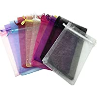SOSAM 100 Organza Mixed Colors Jewelry Pouch Bags Display (6x9 inches)