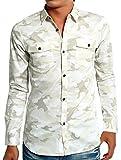 インプローブス シャツ ストレッチ ツイル スリムシャツ メンズ ホワイト カモフラージュ M サイズ