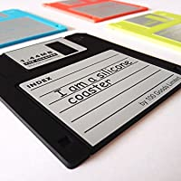 100 Goods 3.5インチ 1.44Mフロッピーディスク フロッピーDisky シリコーンドリンクコースター、 12x9.5cm (4言語)