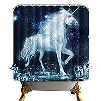 シャワーカーテン 防水防カビ加工 カーテンリング付属 120×180cm ユニコーン 白馬 魔法
