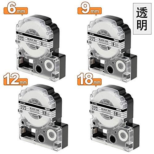 透明 6mm+9mm+12mm+18mm 互換 テプラ テープ キングジム テプラPRO カートリッジ ST6K ST9K ST12K ST18K テプラ 4種サイズのセット KINGJIM Tepra SR250 SR530 SR970 SR150 SR170 長さ8メートル