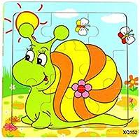 HuaQingPiJu-JP かわいい木製の教育的なパズルアーリーラーニング番号の形の色の動物のおもちゃ子供のための素晴らしいギフト(カタツムリ)