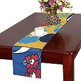 LKCDNG テーブルランナー 和風の人形 クロス 食卓カバー 麻綿製 欧米 おしゃれ 16 Inch X 72 Inch (40cm X 182cm) キッチン ダイニング ホーム デコレーション モダン リビング 洗える