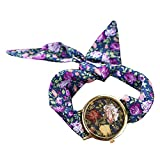 PolytreeレディースGirl 's花柄布バンドフラワードレスクォーツ腕時計(タイプ15)
