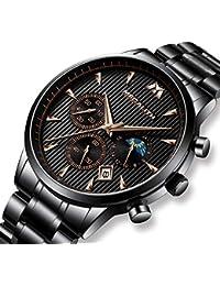 [メガリス]MEGALITH 腕時計ブラック 時計メンズ ステンレススチール防水 クロノグラフウオッチ 多針アナログクオーツ腕時計金属 日付表示 ラグジュアリー おしゃれ ビジネス カジュアル メタル男性腕時計