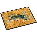 """Caroline's Treasures Blowing Bubbles Blue Crab Indoor or Outdoor Mat, 18"""" x 27"""", Multicolor"""