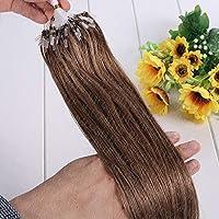 FidgetGear 二重引かれたRemyの人間の毛髪延長ループマイクロリングシリコーンビーズ16-26Inch #10ミディアムゴールデンブラウン
