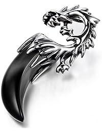 JewelryWe メンズ ステンレス ペンダント ネックレス チョーカー シルバー ブラック 青 ドラゴン 龍 竜 歯牙 部族の,父の日 記念日 21.3インチ チェーン (ギフトバッグを提供)