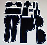 KINMEI(キンメイ) ホンダ FITアームレスト付車専用 青 GK3・4・5・6/GP5系 インテリア ドアポケットマット ドリンクホルダー 滑り止め ノンスリップ 収納スペース保護 ゴムマット フィット新車fit-h-b