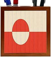 Rikki Knight Greenland Flag on Distressed Wood Design 5-Inch Wooden Tile Pen Holder (RK-PH8717) [並行輸入品]