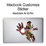 Macbook Custmize Sticker 11インチ/13インチ/15インチ Macbook Air / Pro 両対応 Iron-man アイアンマン / マックブック エアー プロ カスタム ステッカー グラフィック アート シール