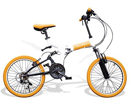 Airbike 折りたたみ自転車 ミニベロ 20インチ サスペンション付き シマノ21段変速 (ホワイト×オレンジ)