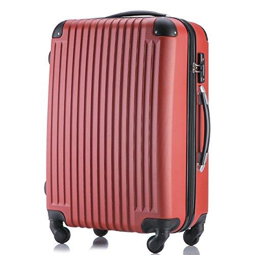 (トラベルデパート) 超軽量スーツケース TSAロック付 ダイヤルロック【一年修理保証】カバー付 (Sサイズ(機内持込OK/1-3泊用/34L), レッド)