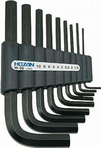 ホーザン(HOZAN) アーレンキー キーレンチ 六角レンチセット 9本セット 収納ホルダー付 対辺サイズ:1.5/2/2.5/3/4/5/6/8/10 W-96