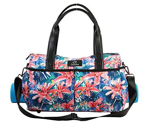 FODOKO ヨガバッグ ヨガマットバッグ ヨガマットケース 大容量 旅行バッグ 女性のトートバッグ スポーツバッグ 素材撥水ポリエステル (朝顔)