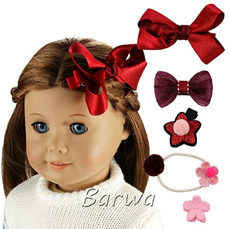 Barwaヘアアクセサリー5ピースレッドヘアバンドStarヘアピン蝶結びヘアピンfor 18 inch American Girl