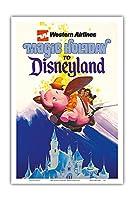 ディズニーランドへの魔法の休日 - ウェスタン航空 - ダンボザフライングエレファント - ビンテージな航空会社のポスター c.1970s - アートポスター - 31cm x 46cm