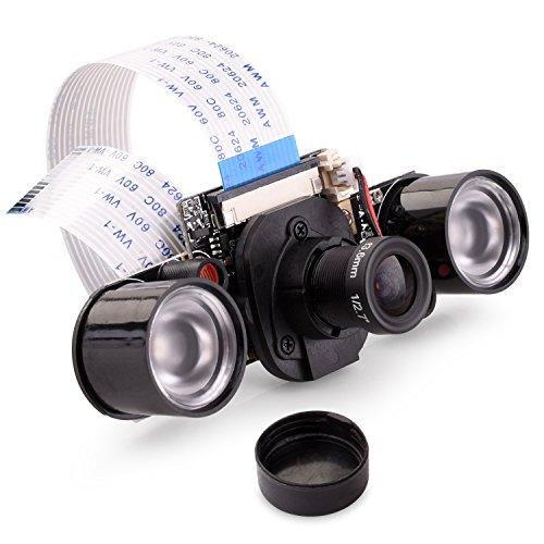 Quimat 2017年新版 Raspberry Pi用カメラモジュール IR-CUTフィルタ 夜間 赤外線の可視可能 ズームレンズ 5万画素 OV5647センサー 1080p高解像度 昼も夜も使え 赤外線フィルインライト Raspberry Pi 3 2 1 B B+ A A+に交換 HSC16